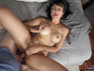 Milf using a sex toy and fucking stepson