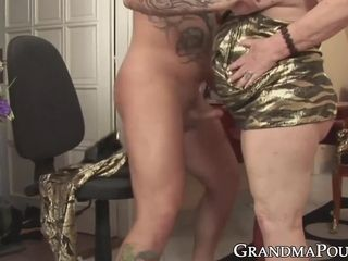 Inked young muscle guy hard banging old lady before facial
