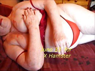 Granny upstairs hem caressing the brush chubby tities