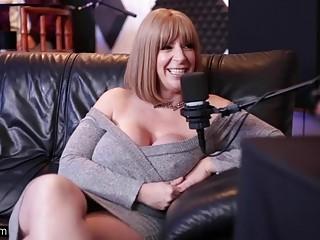 Mature pornstar with big tits has fun at a podcast