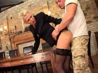 Uber-sexy blond cougar taking care of his petite man sausage