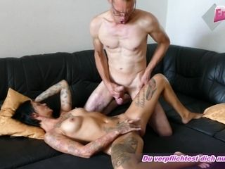 german amateur homemade threesome mmf with skinny tattoo milf