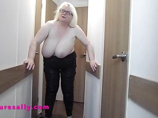 British Busty Granny in very tight jeans