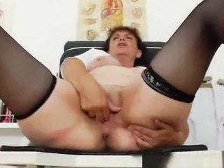 Impatient head practical nurse toying with herself in her uniform
