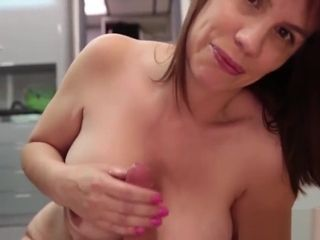 MILF amateur jerking cock and gets cumontits