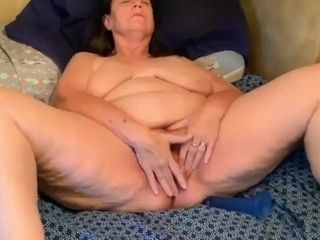 'grandma Inge fucks her hairy dripping cunt'