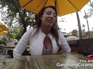 """MILF Rides in car topless before she takes on 5 cocksmen in 2nd gangbang"""