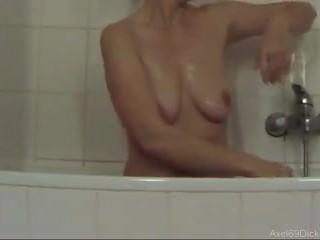 Hidden spy cam on 2 german wicked matures in the shower