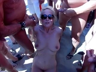 Blonde granny gets 48 loads and swallows 29