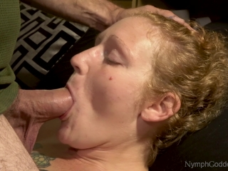 Innate red-haired cougar Ivy Face pulverized by husband with pulsating jism in facehole