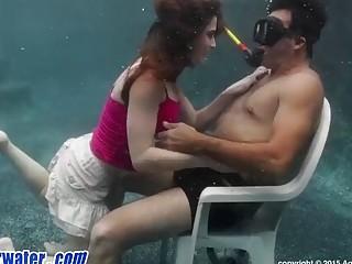 Underwater Blowjob handjob and cum