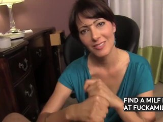 Sensuous hand-job and deep throat from mother