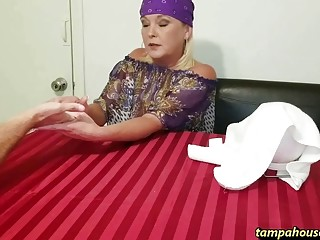 Mature blonde gives a sensual blowjob before being dicked down