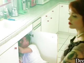 Cheating housewife gets fucked by the plumber in the kitchen