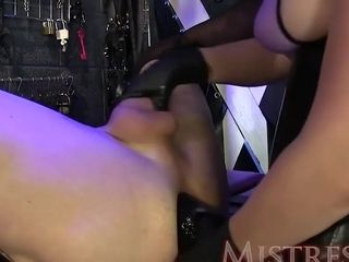 MILF Mistress Fucks her sub with a Huge Toy