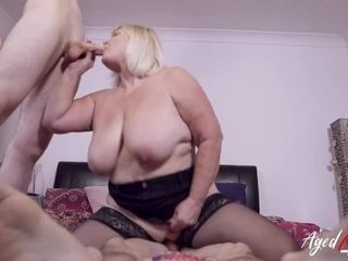 'AGEDLOVE Two horny studs got some hardcore with mature lady'