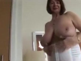 Granny flashing boobs and upskirt