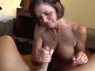 Granny getting my cum on her pretty face