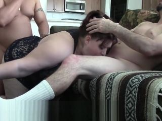 BBW slut wife sucks the cock of a stranger as she is fucked from behind