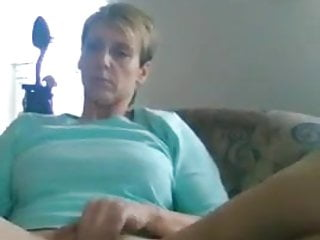 Mature toying while witnessing porno