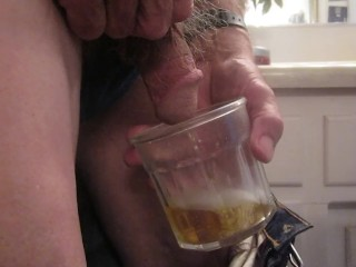 I urinate into a elderly fashioned glass for 40 seconds!