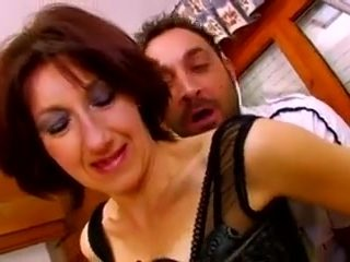 French Housewife in stockings fucks hard in the kitchen