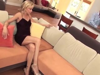 Mature blonde cougar in heels take a facial