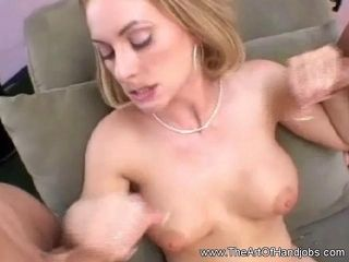 Double Handjob From Blonde Mommy