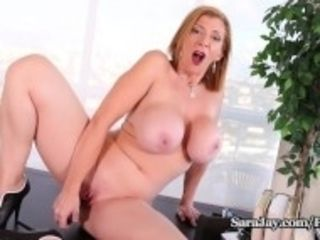 """Busty Milf Sara Jay Gets Horny on Lunch Break and Cums Hard!"""