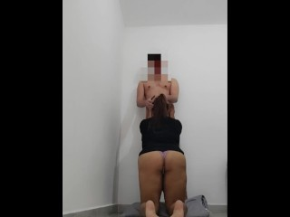 Fat Ass Latina gave me a BackSide Blowjob in thong and Jacket.