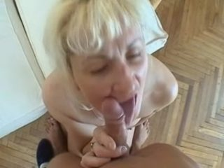 slender blonde milf and young guy