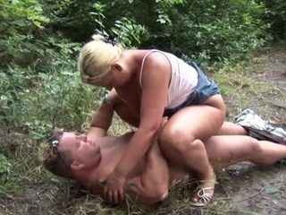 Blonde mature with bouncy tits fucked in public