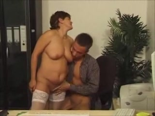 German granny in stockings poked in the tail end