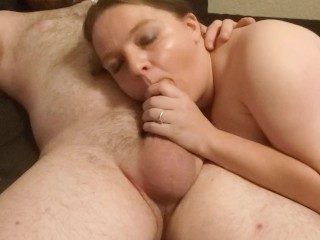 Threesome double blowjob cumshot in mouth