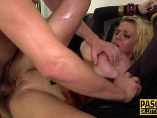 Ass belted bound and blindfolded milf