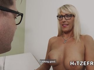 HITZEFREI huge-boobed blond German cougar plumbed by her medic