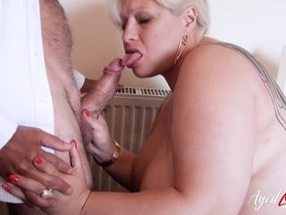 AgedLovE huge-chested Mature giving fellatio