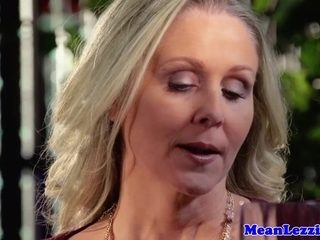 Smoking glam milfs closeup restroom analplay