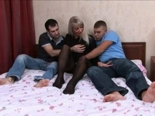 mature woman and two men