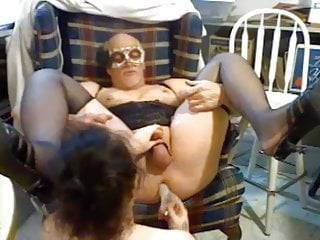 Married mature guy in lingerie dildo fucked by his wife