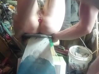 BLOOPER Big Tiddy Goth Wife almost breaks her neck when bondage bench she's tied to tips over