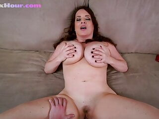 Ginger milf with huge tits cock riding in duo after pov pussy fucking