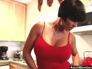 Fabulous mother With good-sized knockers fondles Her love button In The Kitchen
