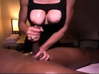 Bad ass mom stroking huge cock