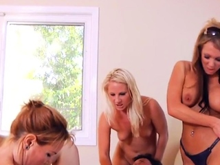 Busty strapon femdoms pegging in group
