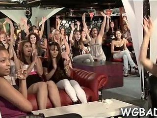 Enthralling school girls are having elation absorbing pricks