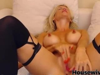 Handsome buxomy blondie with ample rigid puffies