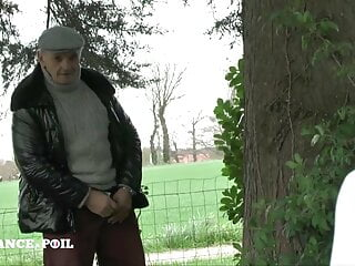 Big titted mature gangbanged and jizzed outdoors