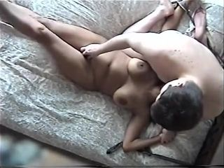 Trussed black cougar gets her cootchie taunted and pummeled