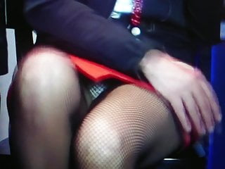 Fishnet pantyhose and pantie upskirt in tv